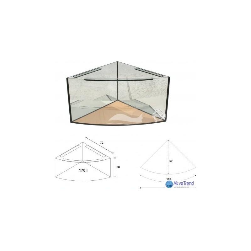 Íves sarok (delta) akvárium szett teljes gépészettel 170 liter 72 x 72 x 50 cm